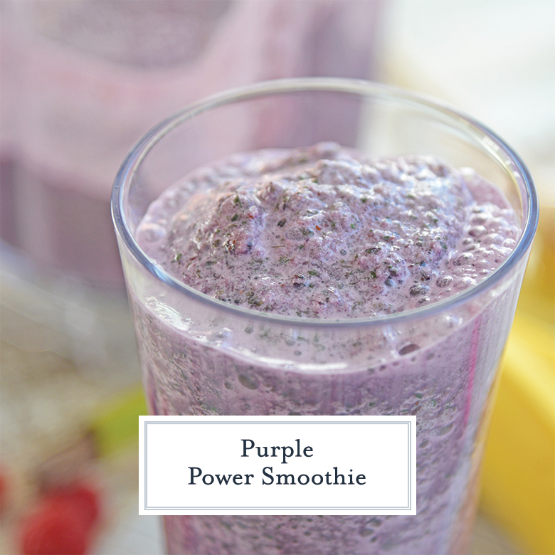 Glass of purple power smoothie