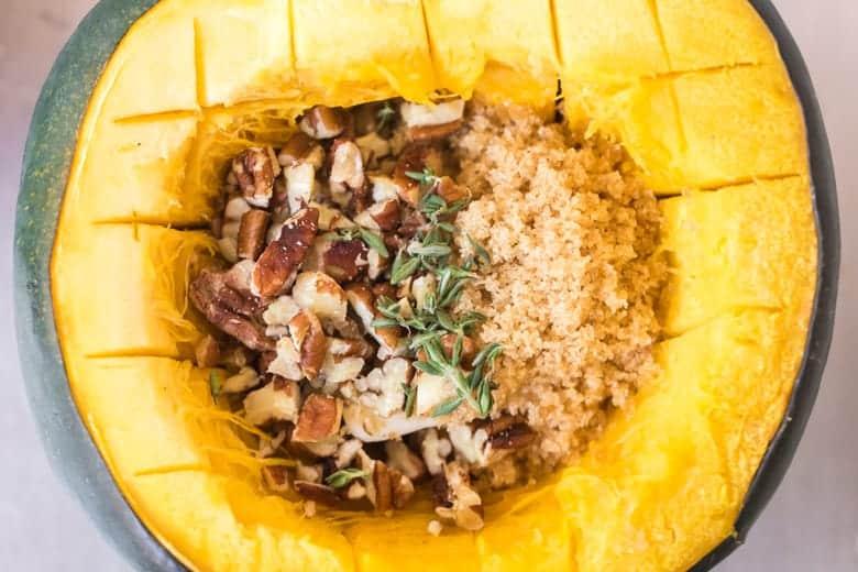 A close up of raw roast acorn squash