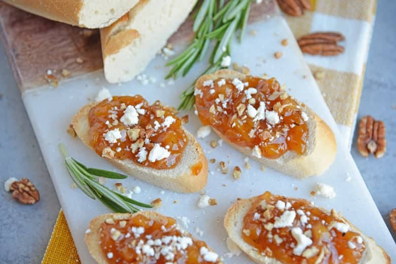Pear and Apricot crostini with fresh rosemary