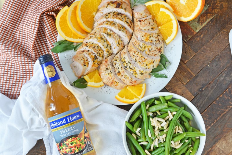 Orange Sage Turkey Breast with Creamy Sherry Sauce is a flavorful and easy meal made with sherry cooking wine, fresh oranges and a sweet cream sauce. #turkeybreast www.savoryexperiments.com