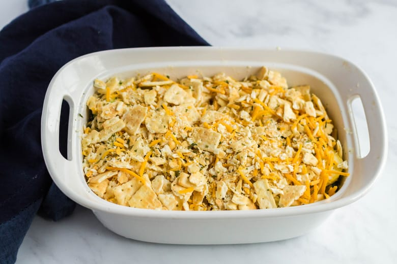 Cheesy squash casserole with butter cracker topping