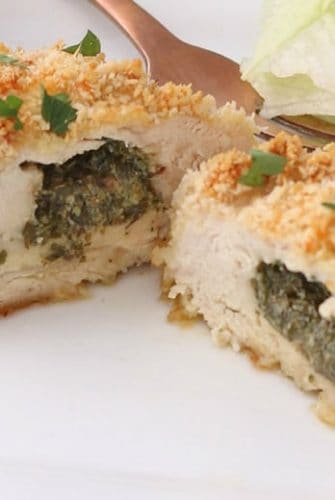 close up of chicken kiev cut in half