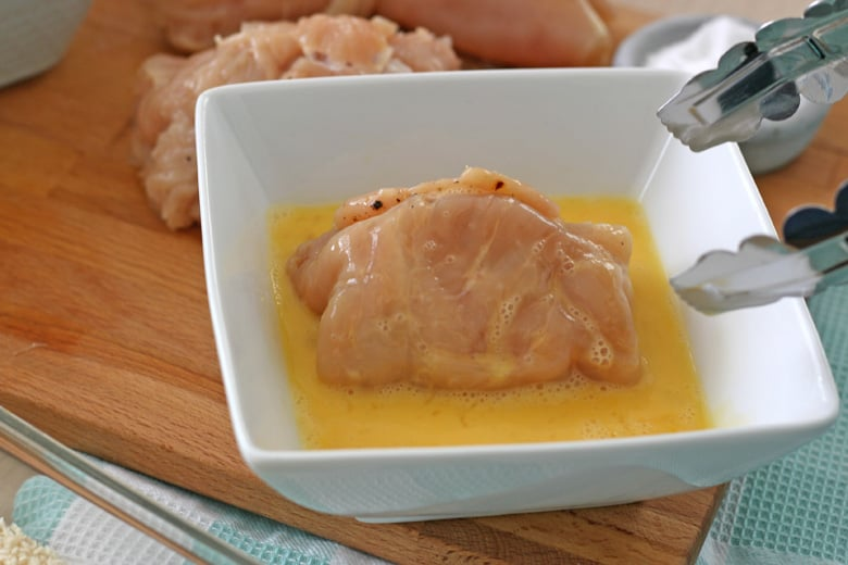 Chicken breast in egg wash