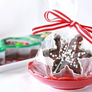Fudge inside of a cookie cutter wrapped in plastic