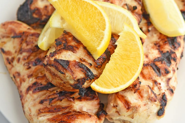 Close up of grilled chicken breasts