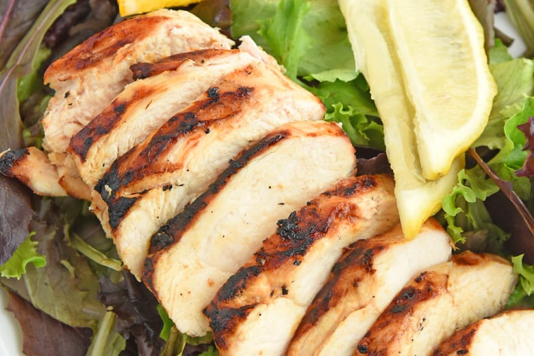 Close up of grilled sliced chicken