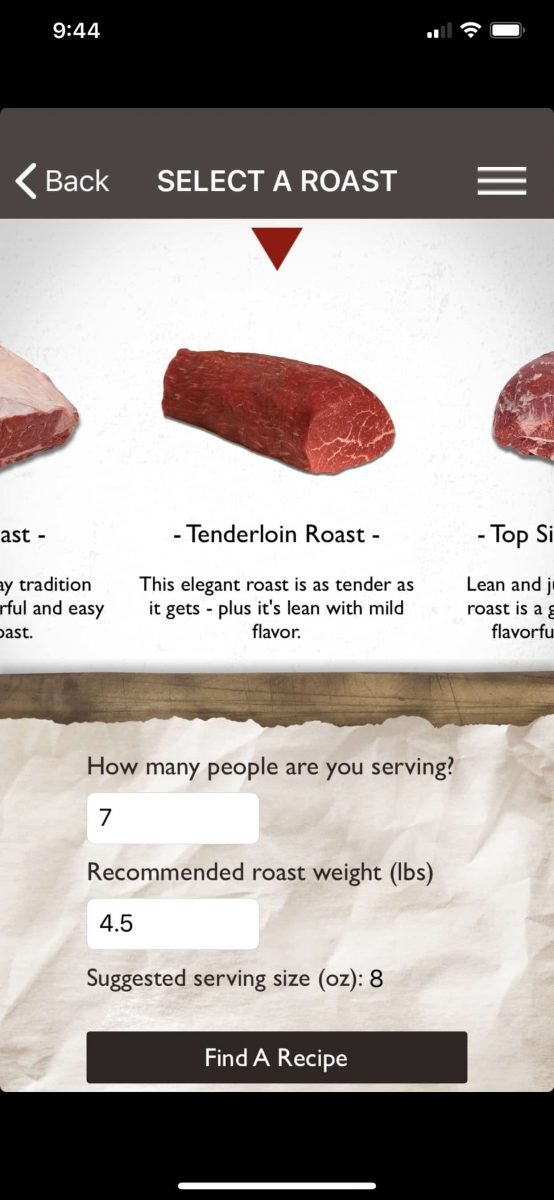 Roast Perfect App for Beef Tenderloin