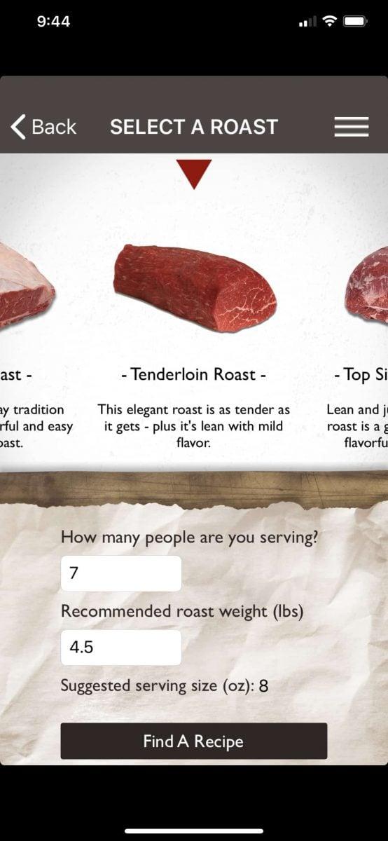 Roast Perfect App for Beef Tenderloin
