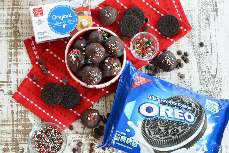 Oreo Cookie Balls and ingredients