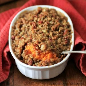 sweet potato casserole with a spoon