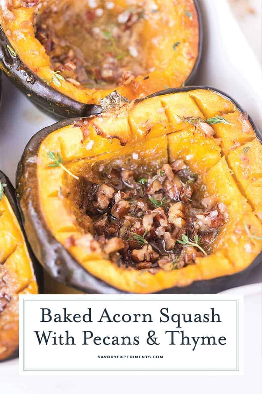 close up of roast acorn squash for pinterest