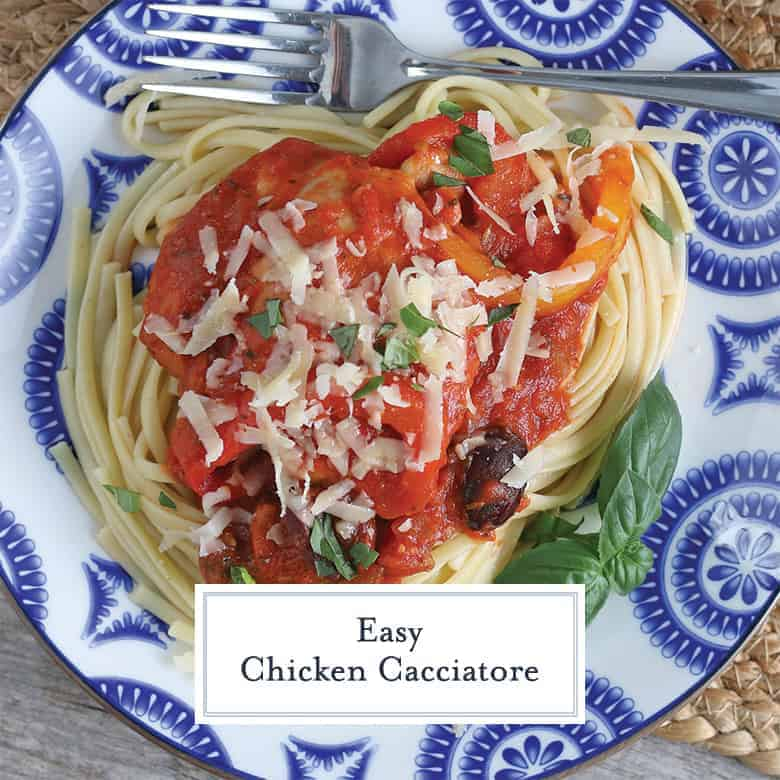 Overhead of Chicken Cacciatore on a Blue and White plate