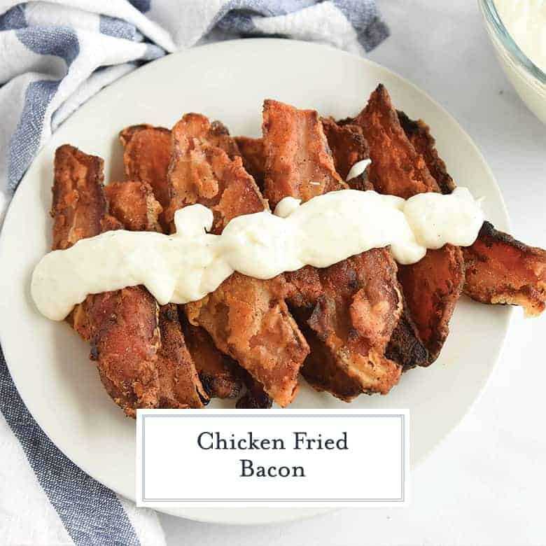 Chicken Fried Bacon is thick cut bacon dredged in seasoned flour, like chicken fried steak, and then fried to a golden brown and served with Cream Gravy. #chickenfried #baconrecipes www.savoryexperiments.com