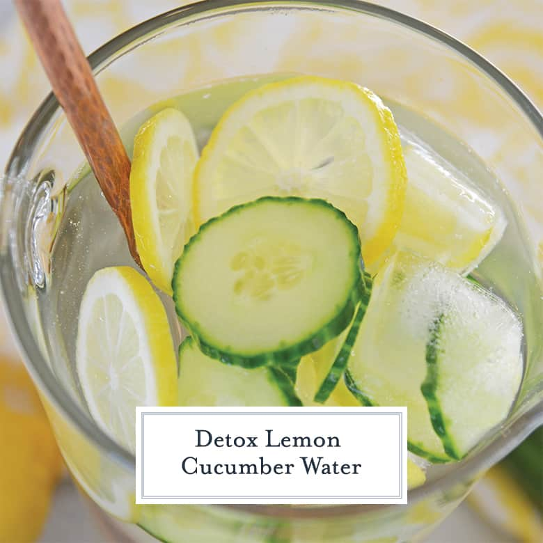 Lemon Cucumber Water in a glass pitcher