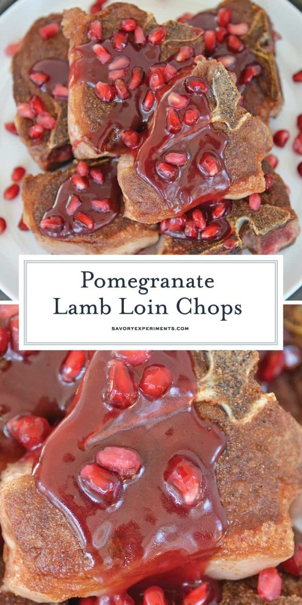 Close up of lamb loin chops with pomegranate sauce for Pinterest