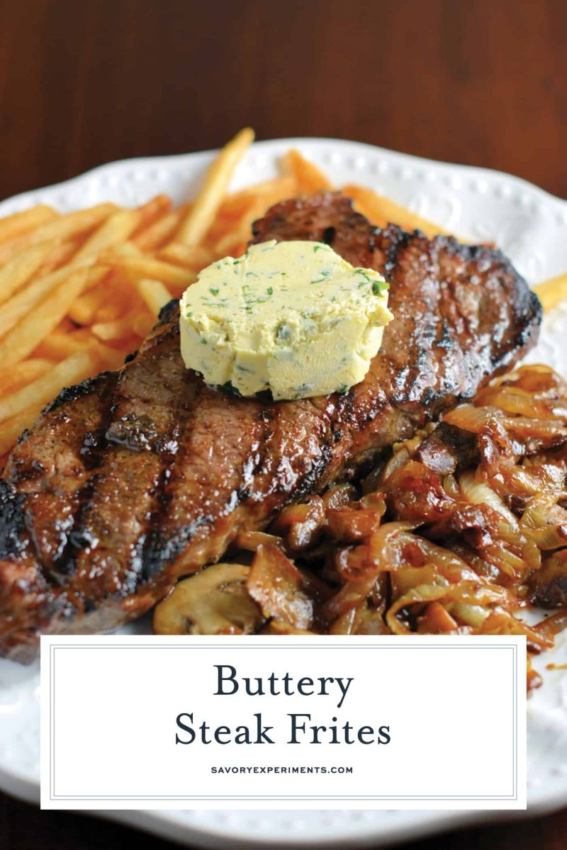 Close up of buttery steak frites