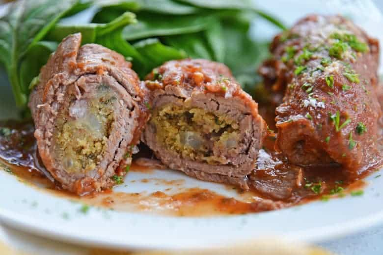 Inside of beef braciole