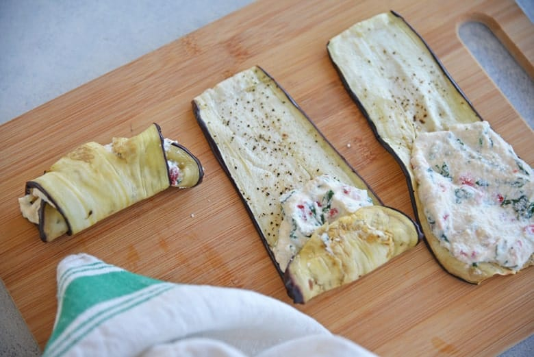 How to roll eggplant rollatini