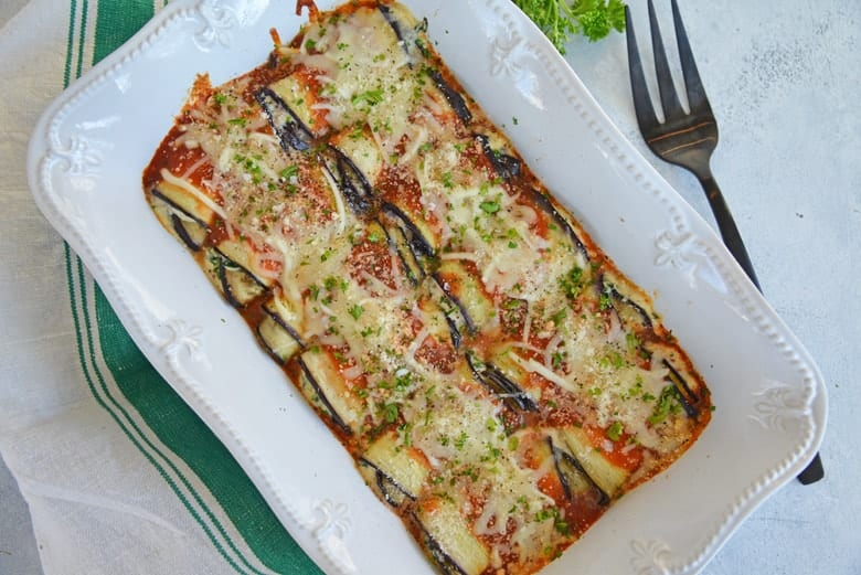 Casserole dish with eggplant rollatini