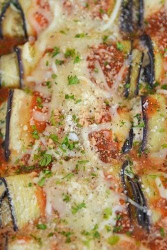 eggplant rollatini in a casserole dish