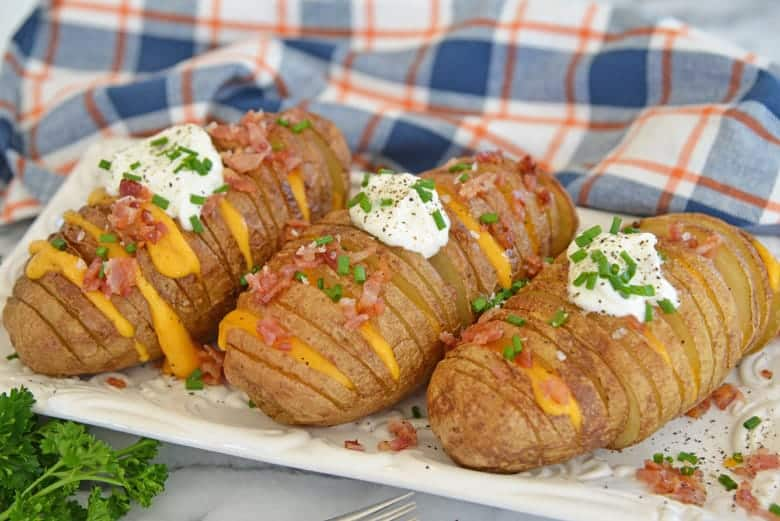 Plate of Hasselback Baked Potatoes