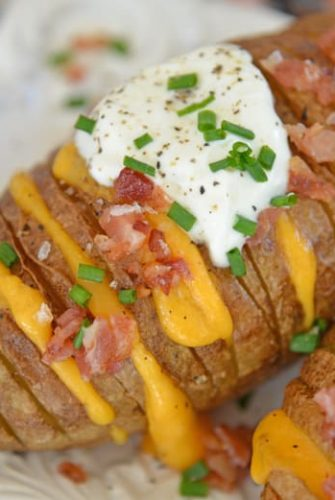 Close up of loaded baked potatoes