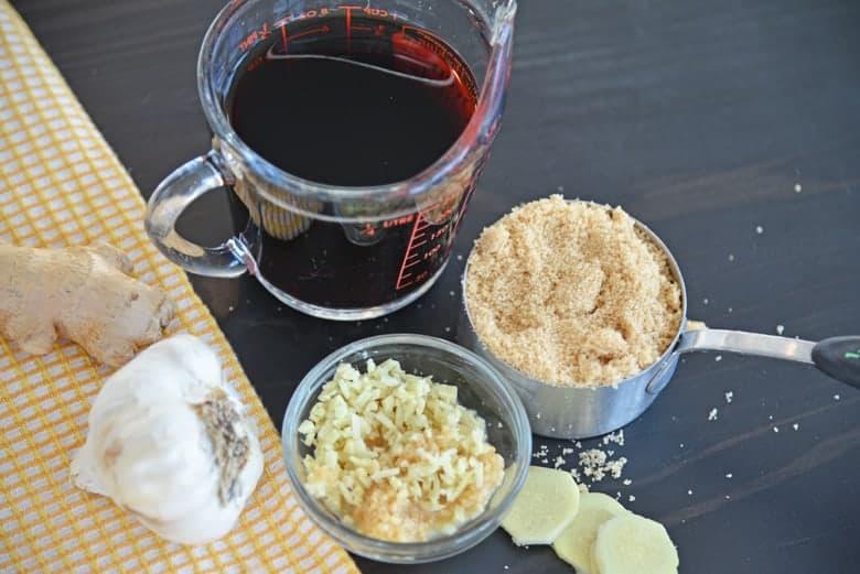Ingredients for Mongolian Beef- soy sauce, brown sugar, ginger, garlic