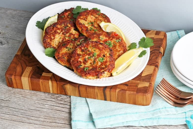 Serving platter of salmon cakes