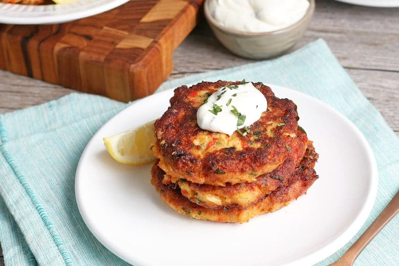Stack of fried salmon patties