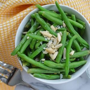 bowl of steamed green beans