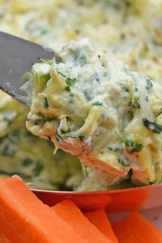 close up of spinach artichoke dip