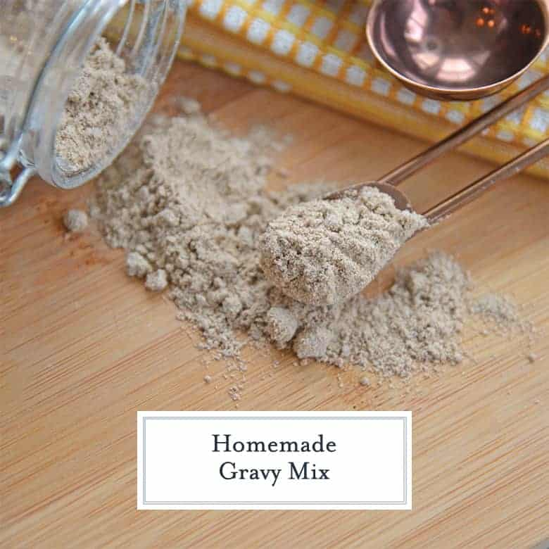 Homemade dry gravy mix in a measuring spoon