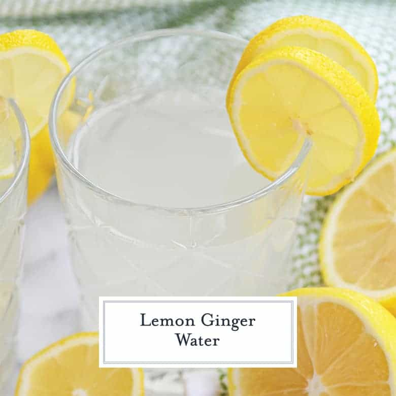 Close up of lemon ginger water with lemon slices