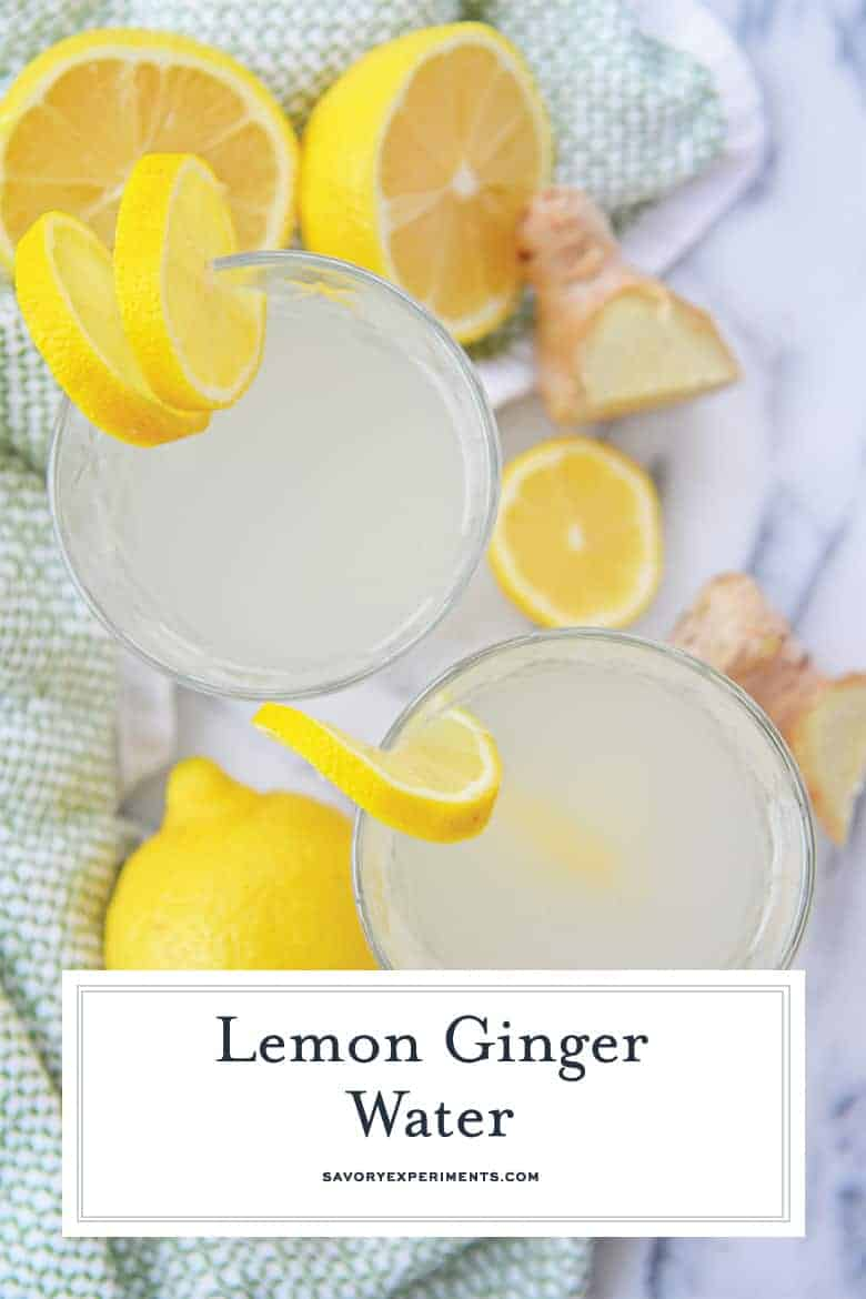 Close up of lemon ginger water with fresh ingredients