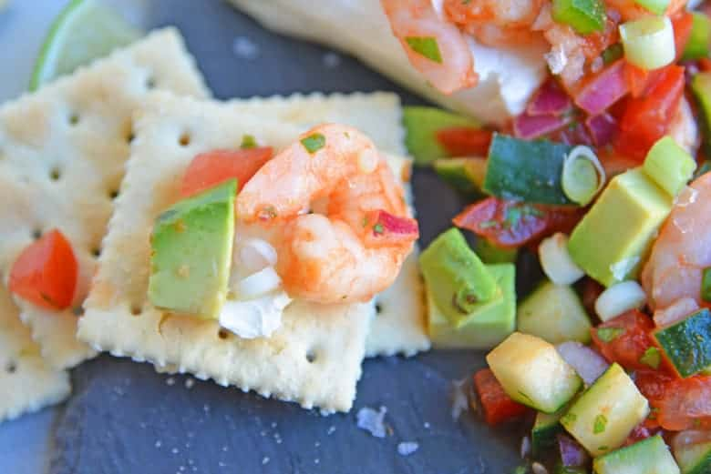 Mexican shrimp cocktail on a saltine cracker
