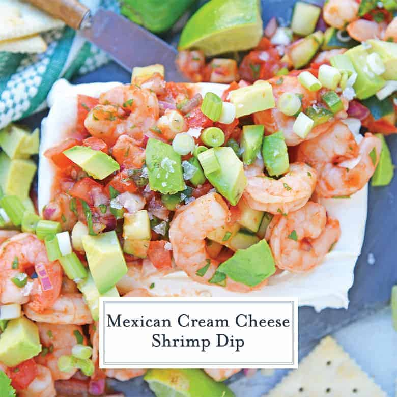 Overhead view of Mexican Shrimp Cocktail over a brick of cream cheese