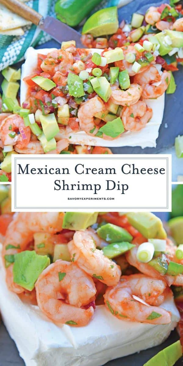 Mexican Cream Cheese Shrimp Dip for Pinterest