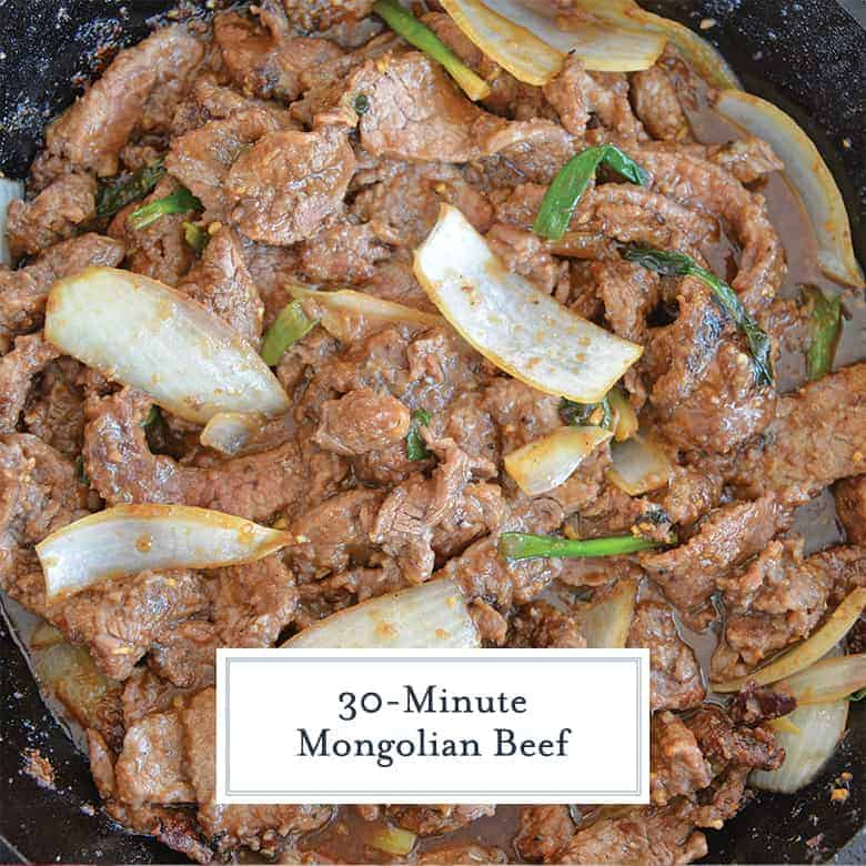 Mongolian Beef Recipe in a cast iron skillet