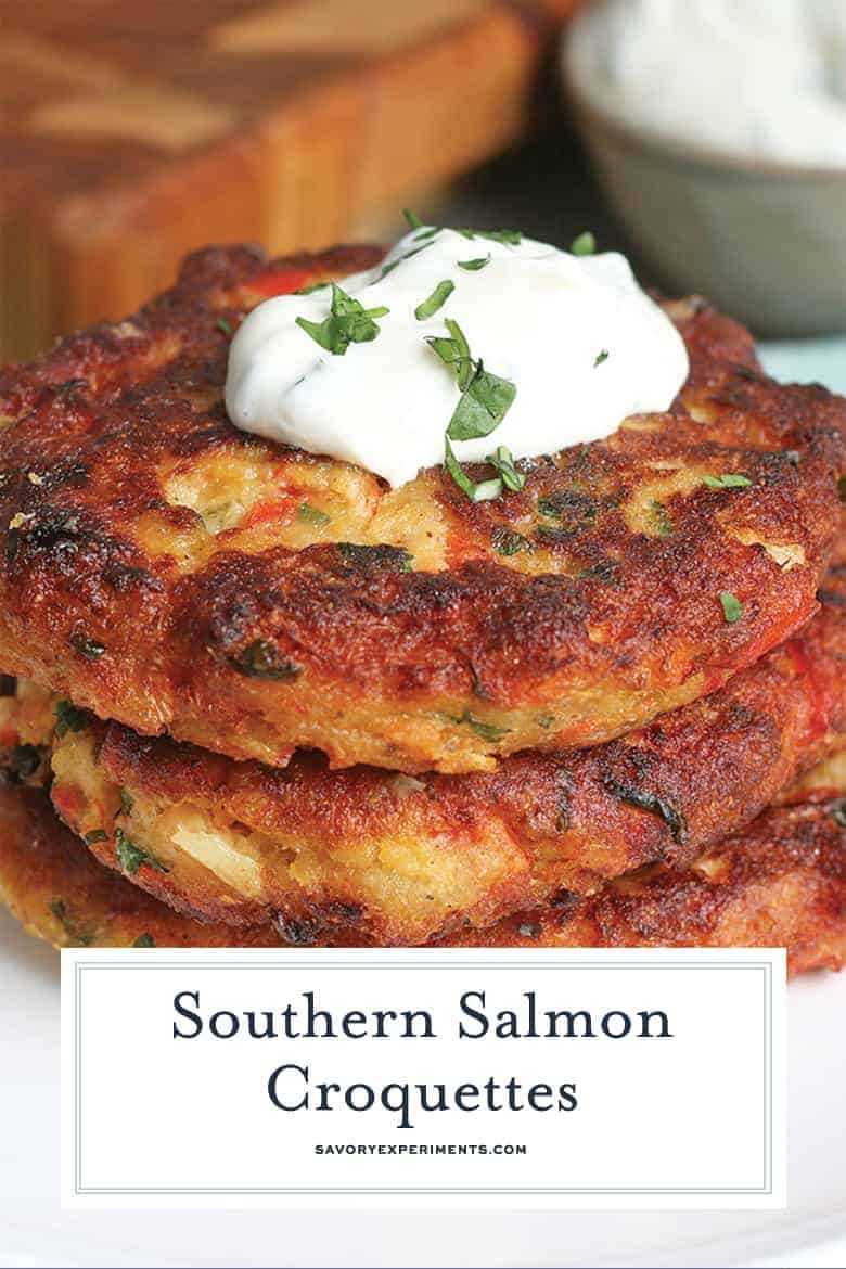 Close up of Fried Salmon Cakes