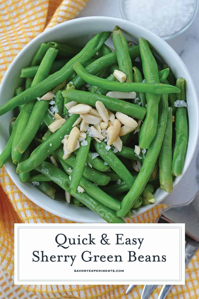 Close up of steamed green beans in a serving dish