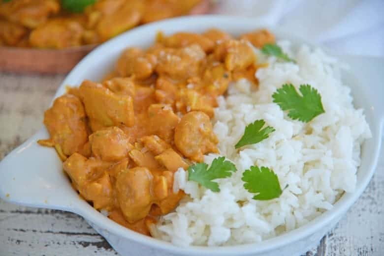 Pressure Cooker Butter Chicken with white rice