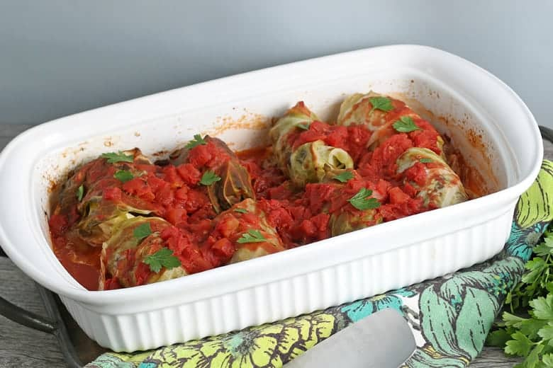 Cooked cabbage Rolls in a baking dish
