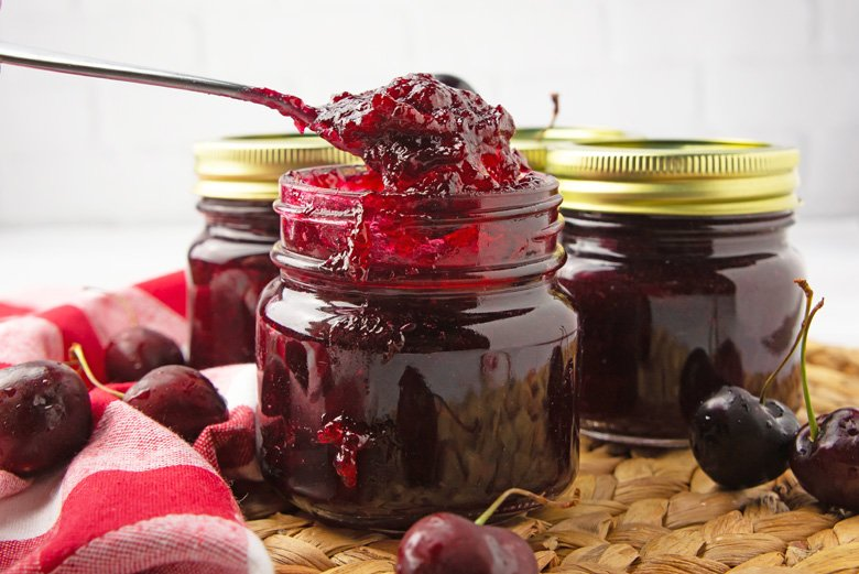 homemade cherry jam in mason jars