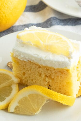 A slice of cake on a plate, with Lemon