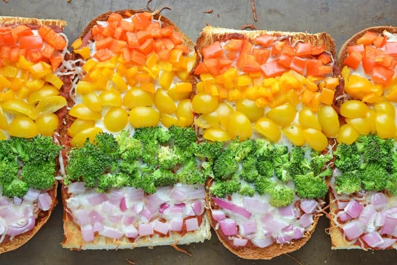 Rainbow French Bread Pizza Recipe