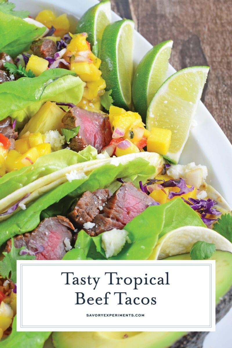 tropical beef taco close up