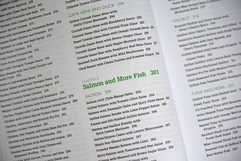 Seafood section of cookbook
