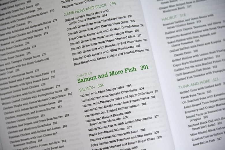 recipe index of a cookbook