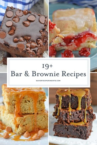 collage of brownie and bars