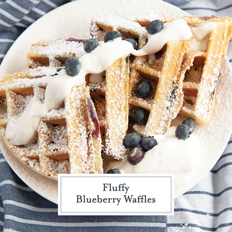Blueberry Waffles in fourths with whipped cream